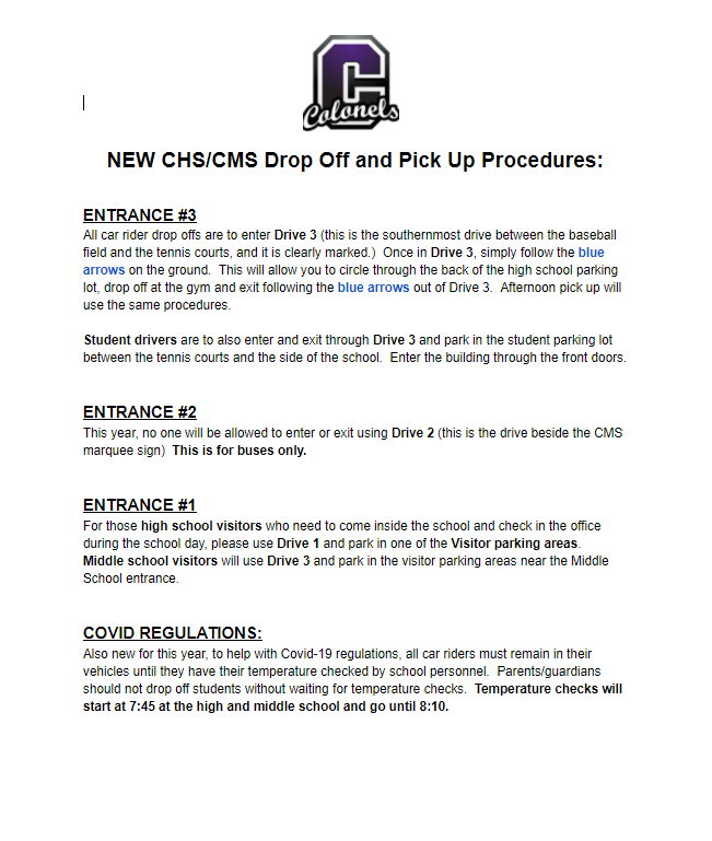 New Drop Off/Pick Up Procedures