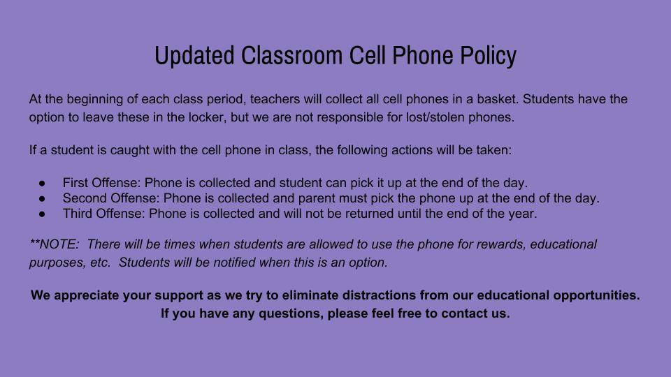 CMS Updated Cell Phone Policy